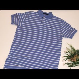 Ralph Lauren Baby Blue and White Stripes Polo